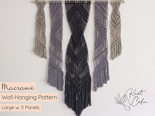 Large Macrame Wall Hanging Pattern with 5 Panels