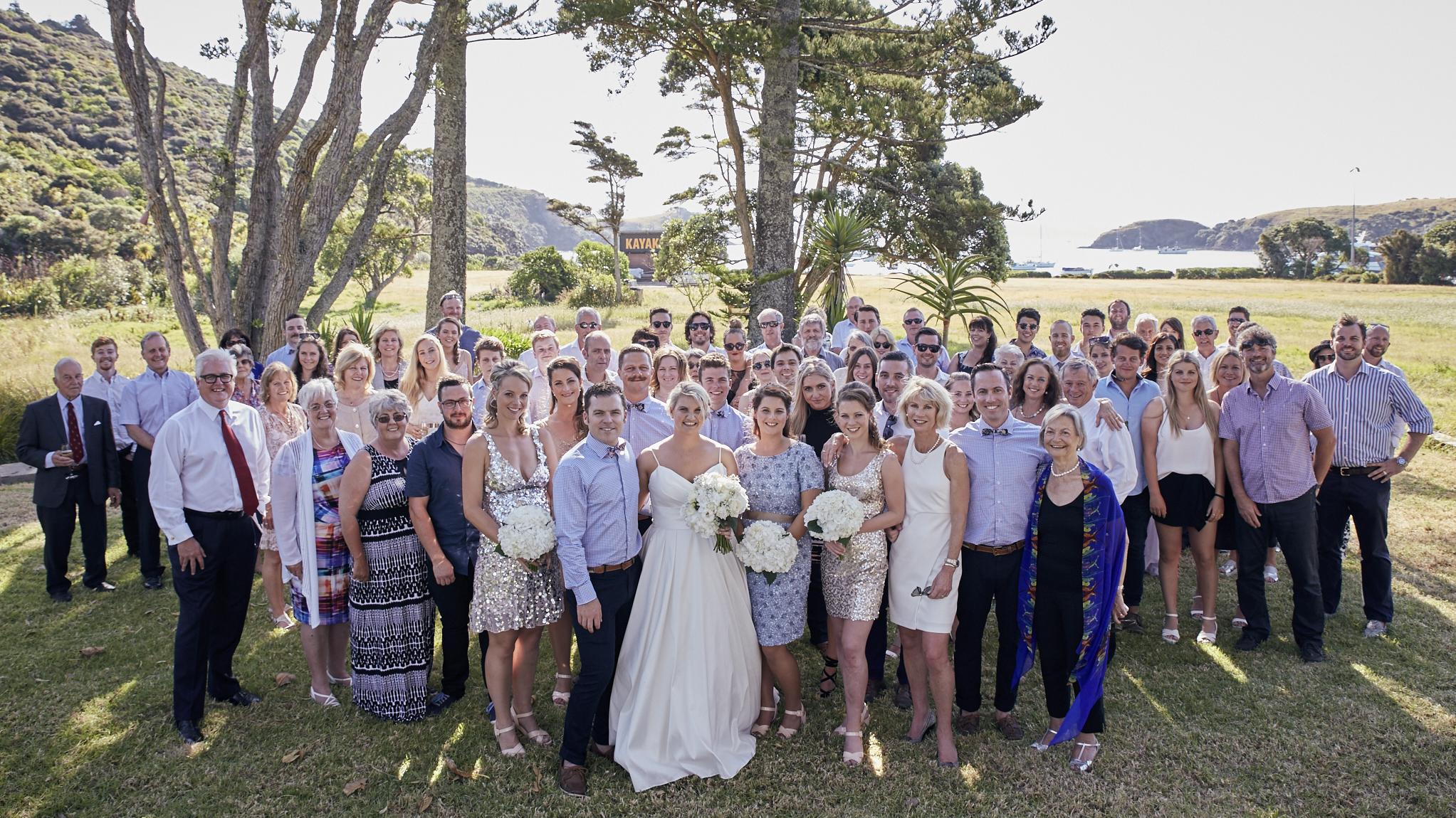 Wedding group photo outside