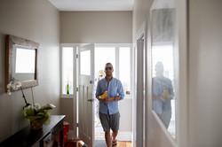groom entering door