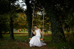 Gorgeous bride on swing