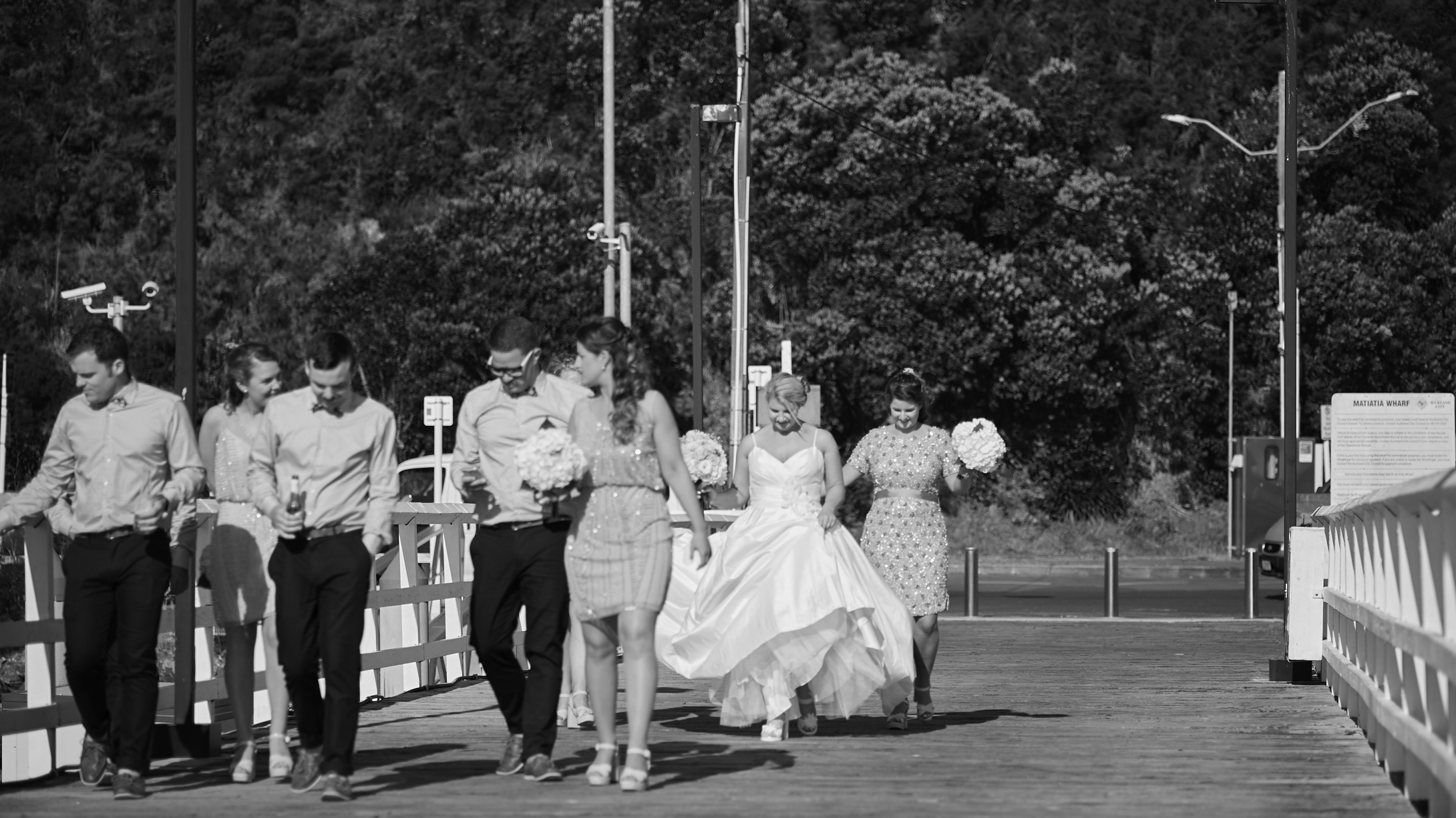 the bridal party strolling