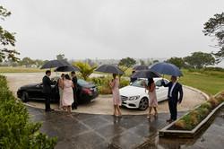 bride and groom arrive