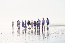 wedding party on sand