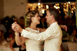 The newlyweds dancing