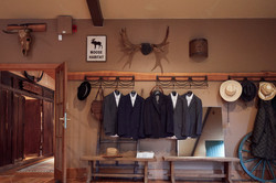 The mens attire hanging up