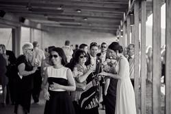 The bride mingling