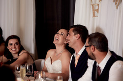 the bride laughing