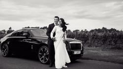 wedding photo with car