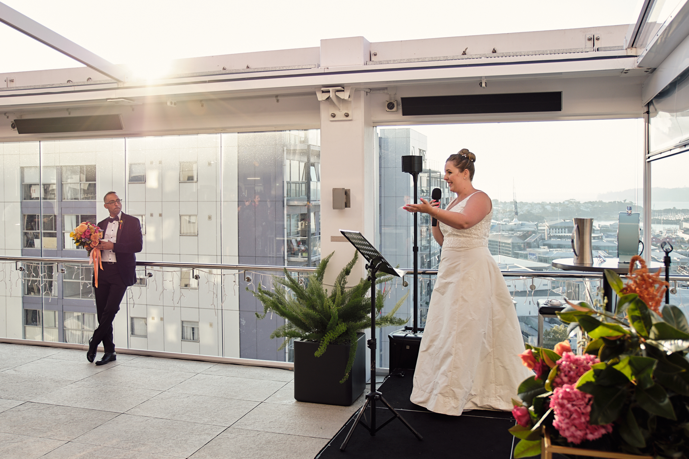 Bride gives her speech