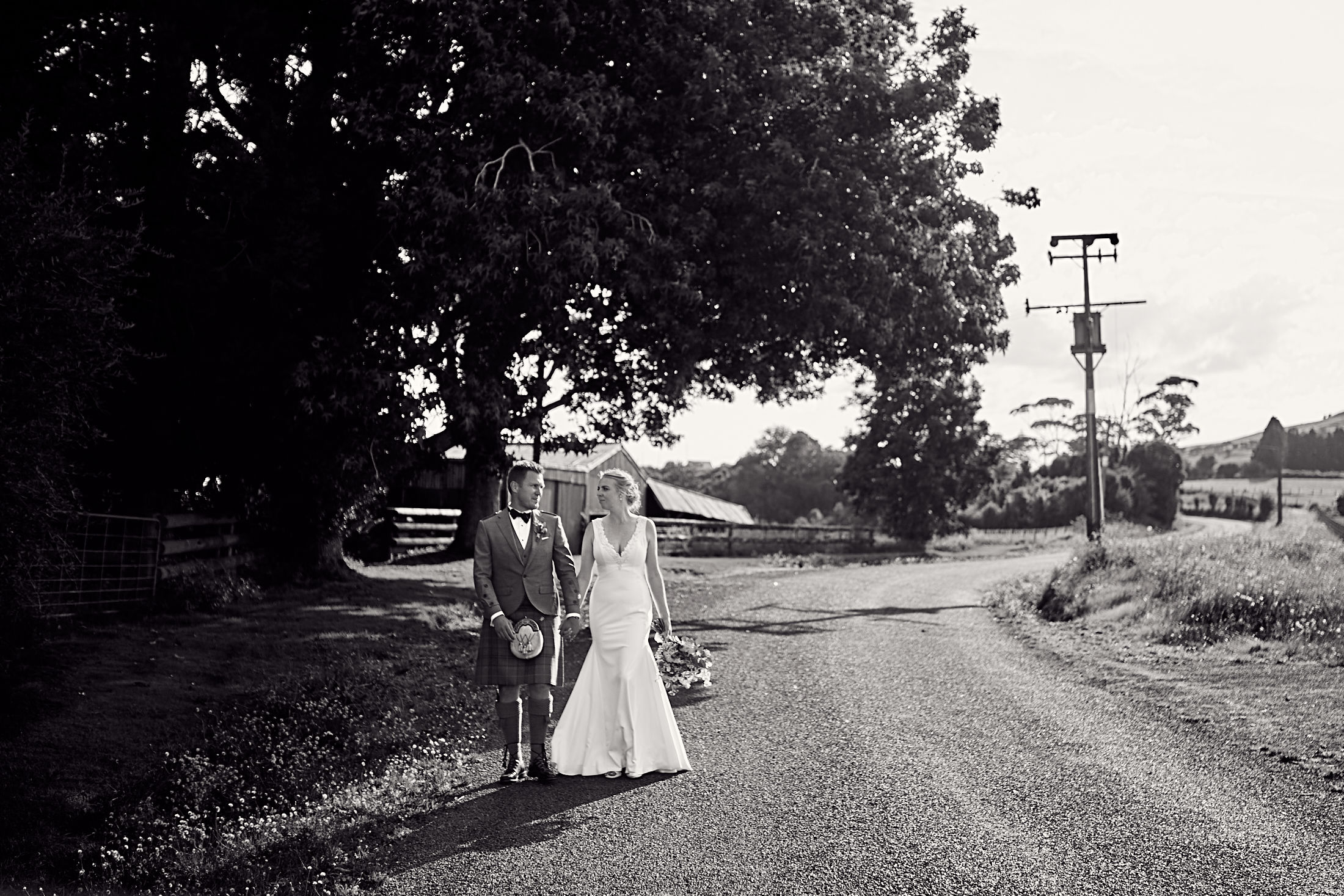 Couple on country road