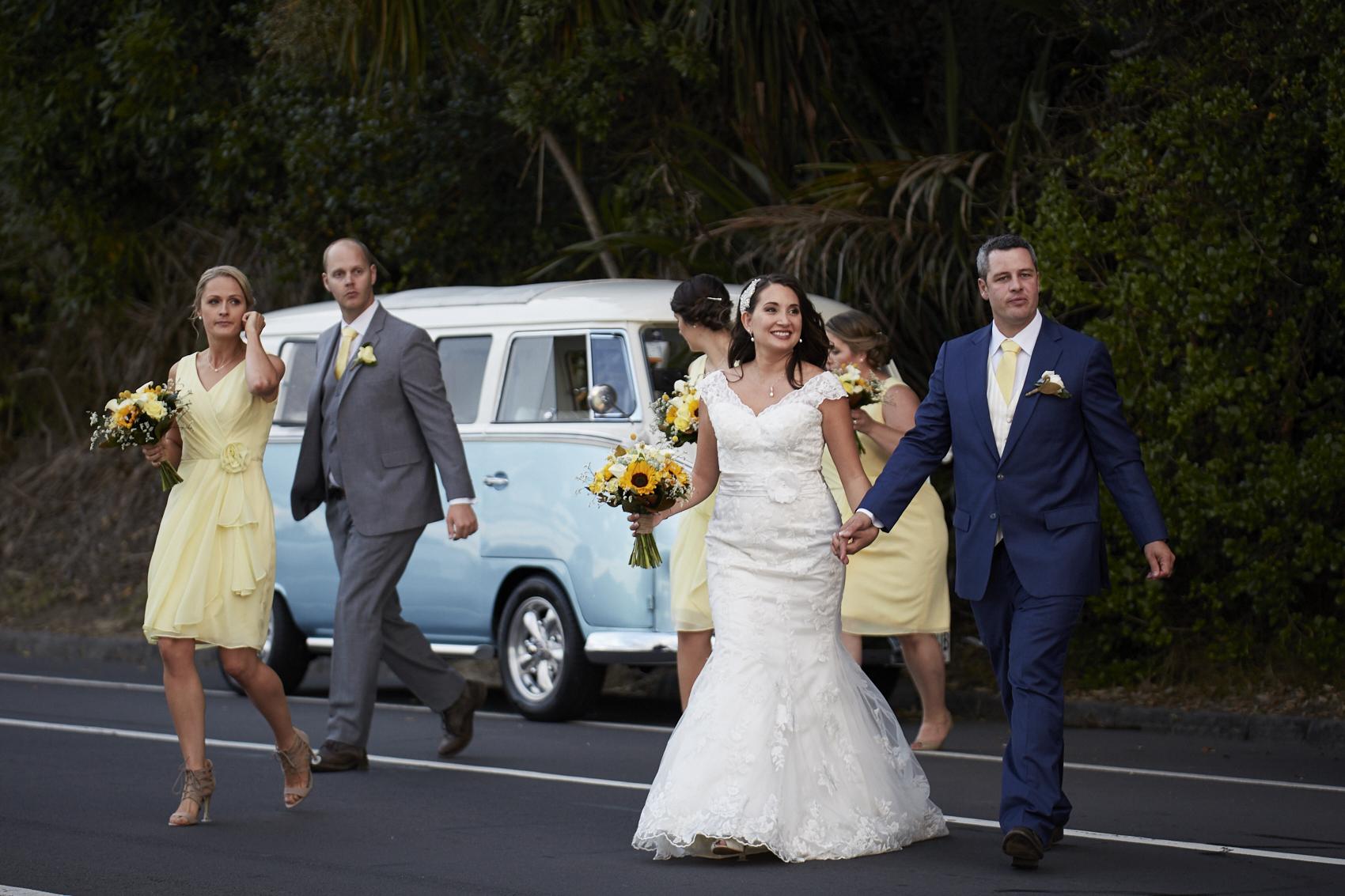 newlyweds crossing road