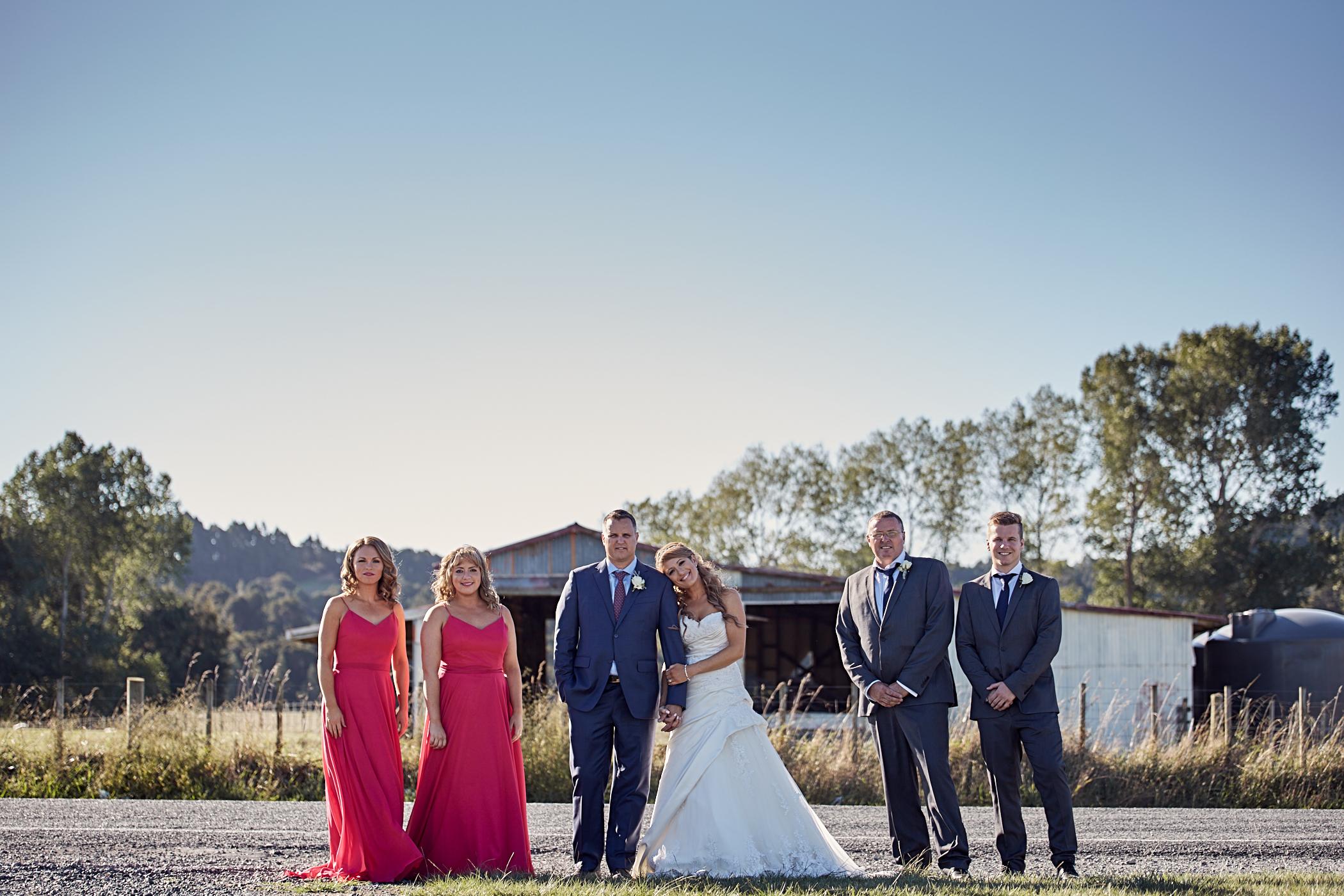 Wedding pose on road
