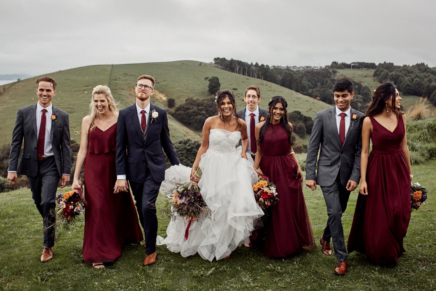 Bridal party walking along
