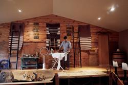Groomsmen ironing shirt