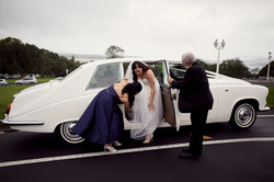 exiting wedding car