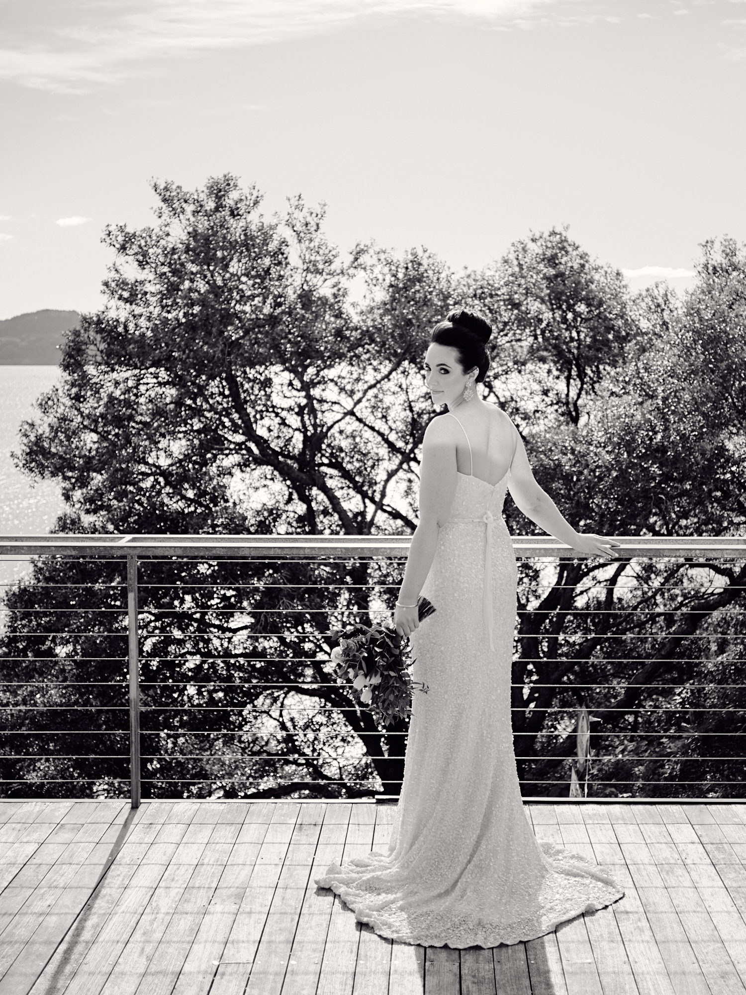 Bride posing on deck