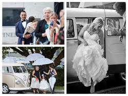 bride exits car
