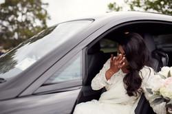 bride wipes a tear