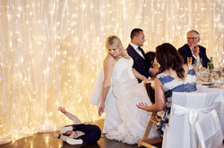 bride looking at child