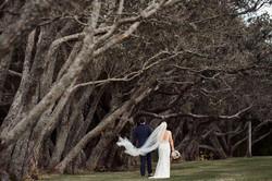 Wedding veil blowing