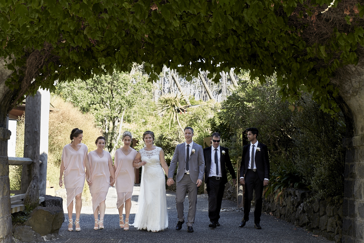 Bridal party under the bridge