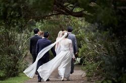 bridal party walk away
