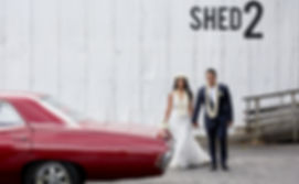 The bride and groom next to a classic car