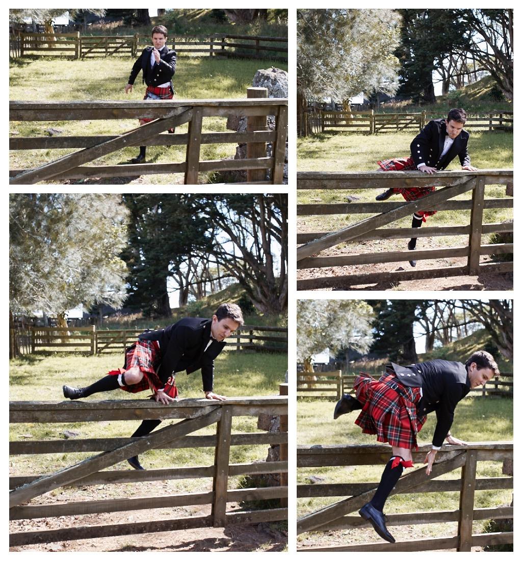 groom jumps fence