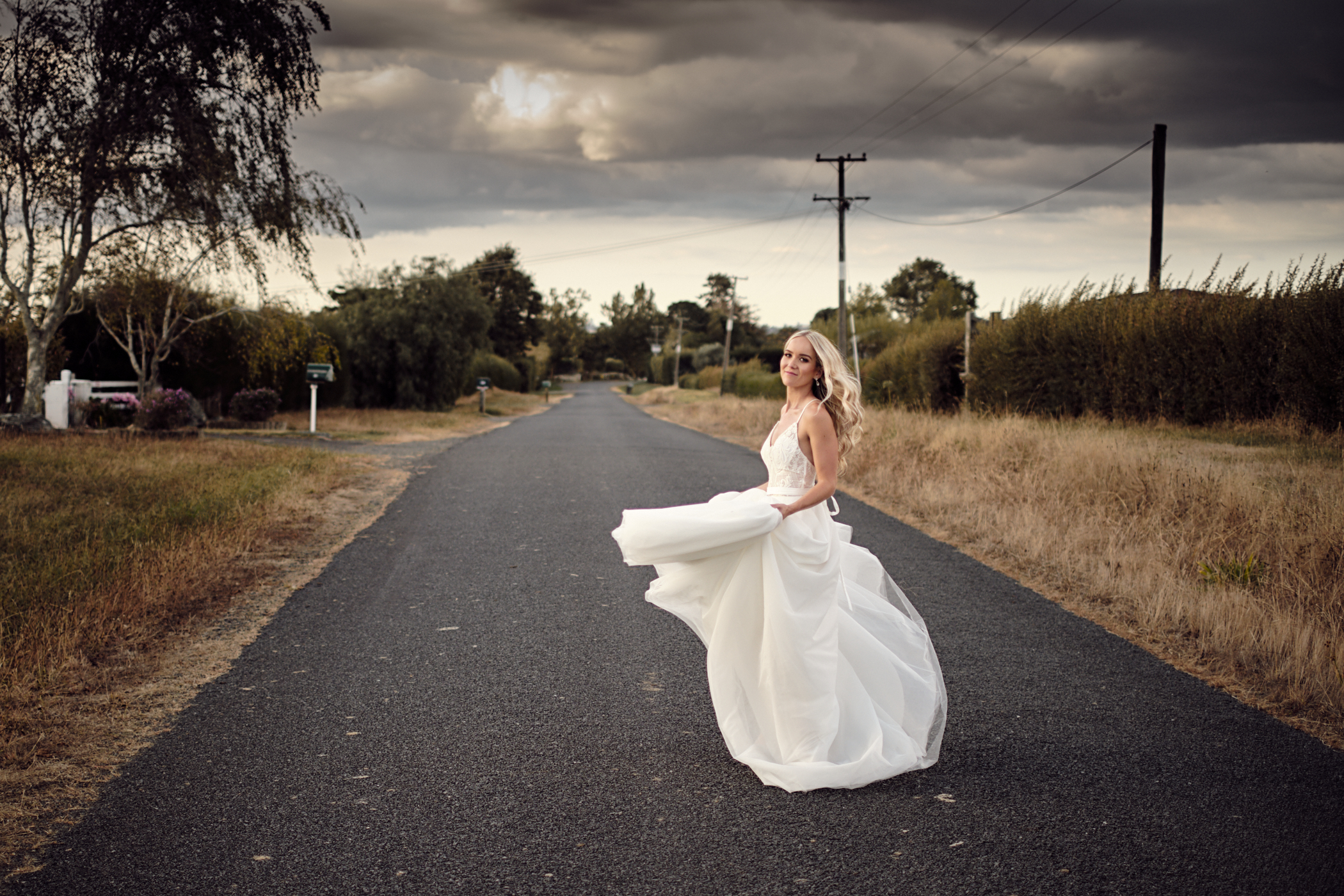 Bride on road