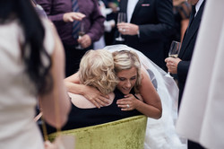 bride gives a hug