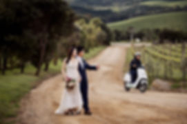 The bride and groom at Mudbrick Vineyard