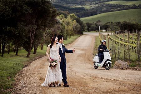 The bride and groom at Mudbrick Vineyard