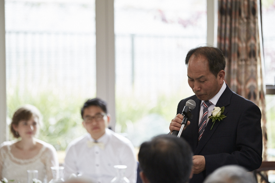 groom's father gives speech