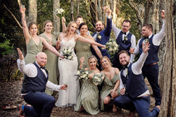 Wedding party smiling
