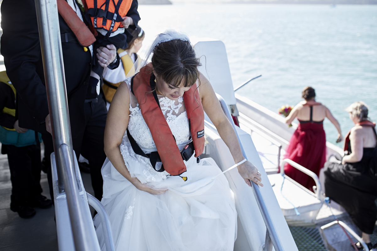 bride in life jacket