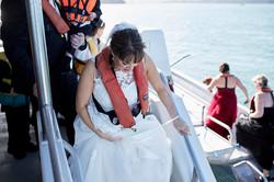 bride in life jacket