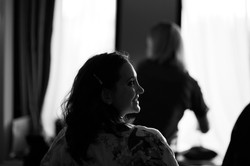 The bride silhouetted