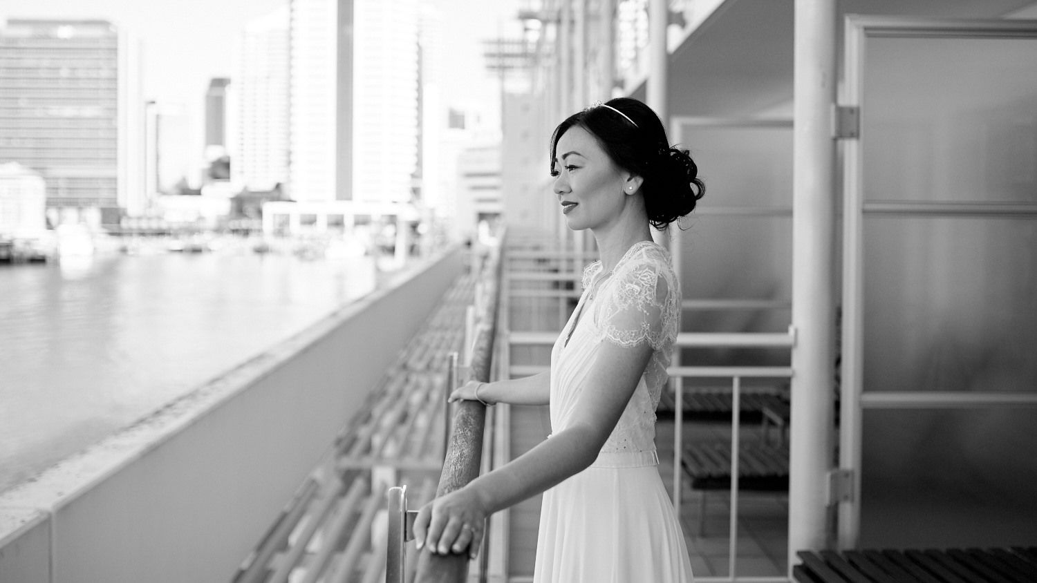 Bride outside on balcony