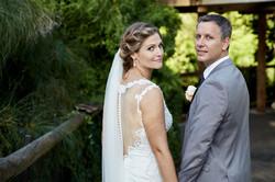 Wedding couple looking back
