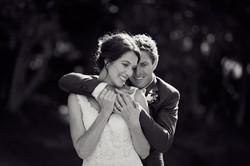 The couple hug