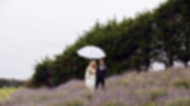 Couple with umbrella in field