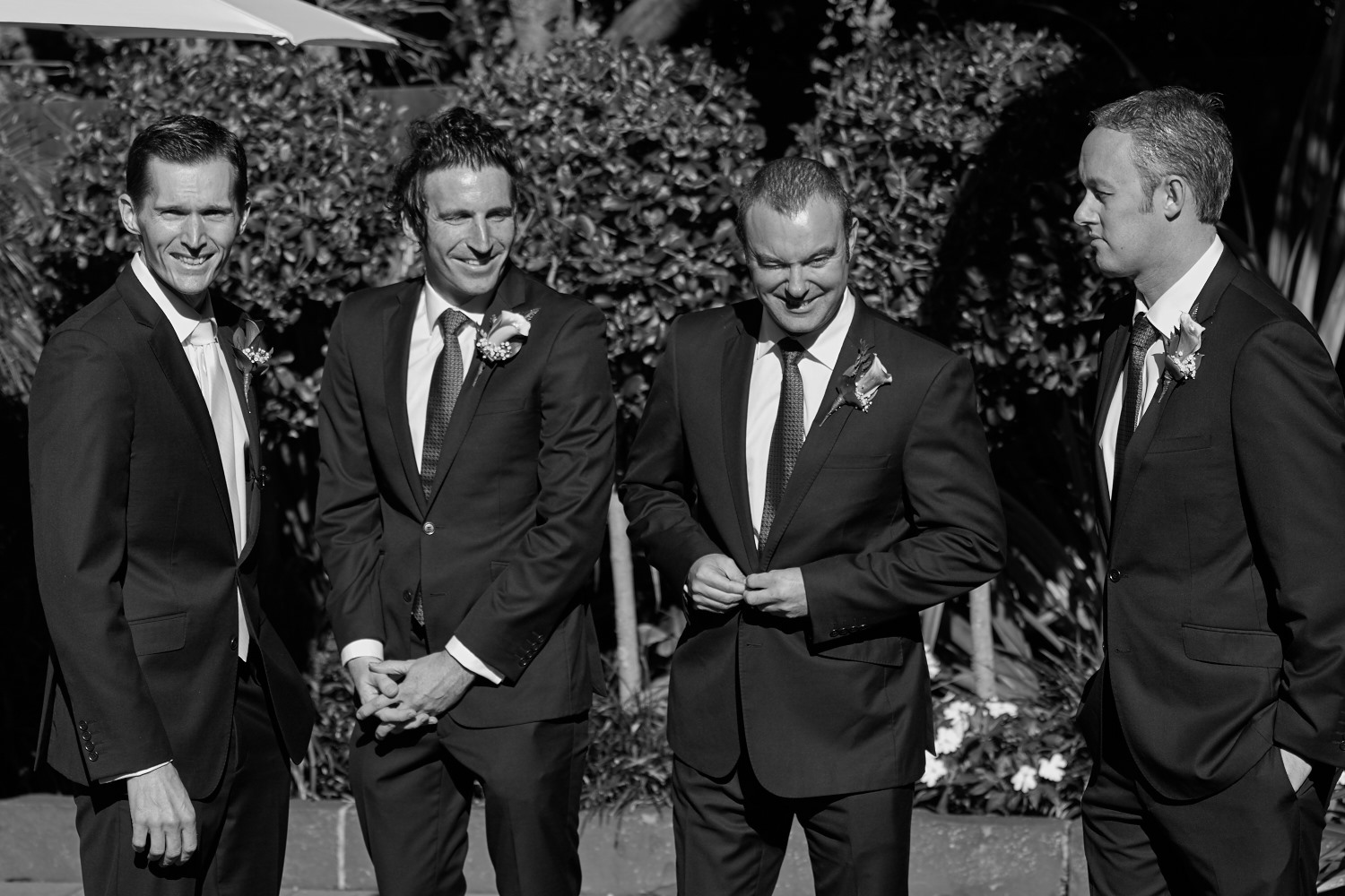 groom and groomsmen waiting