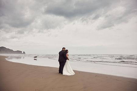 Newlyweds on a beach