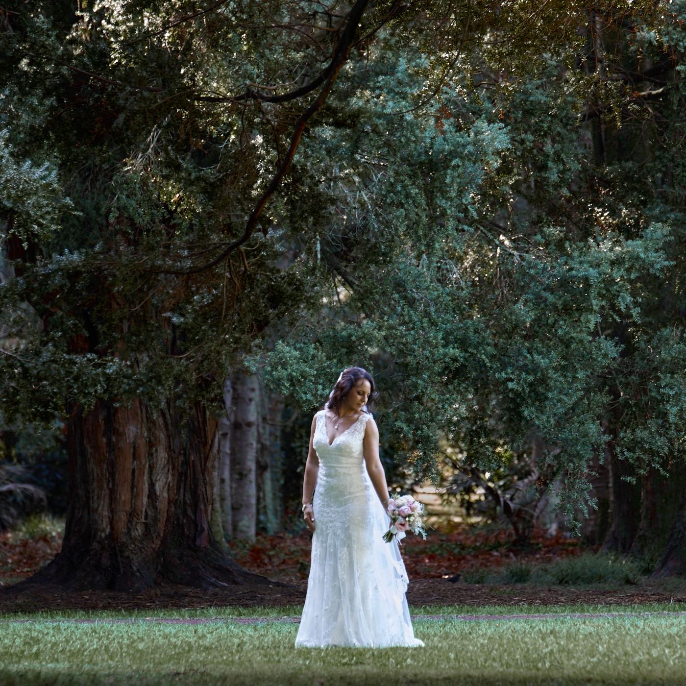 The bride posing