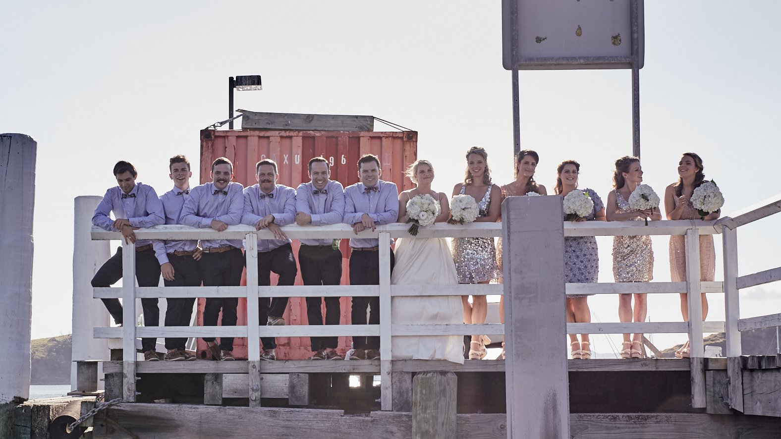 Wedding party on the wharf
