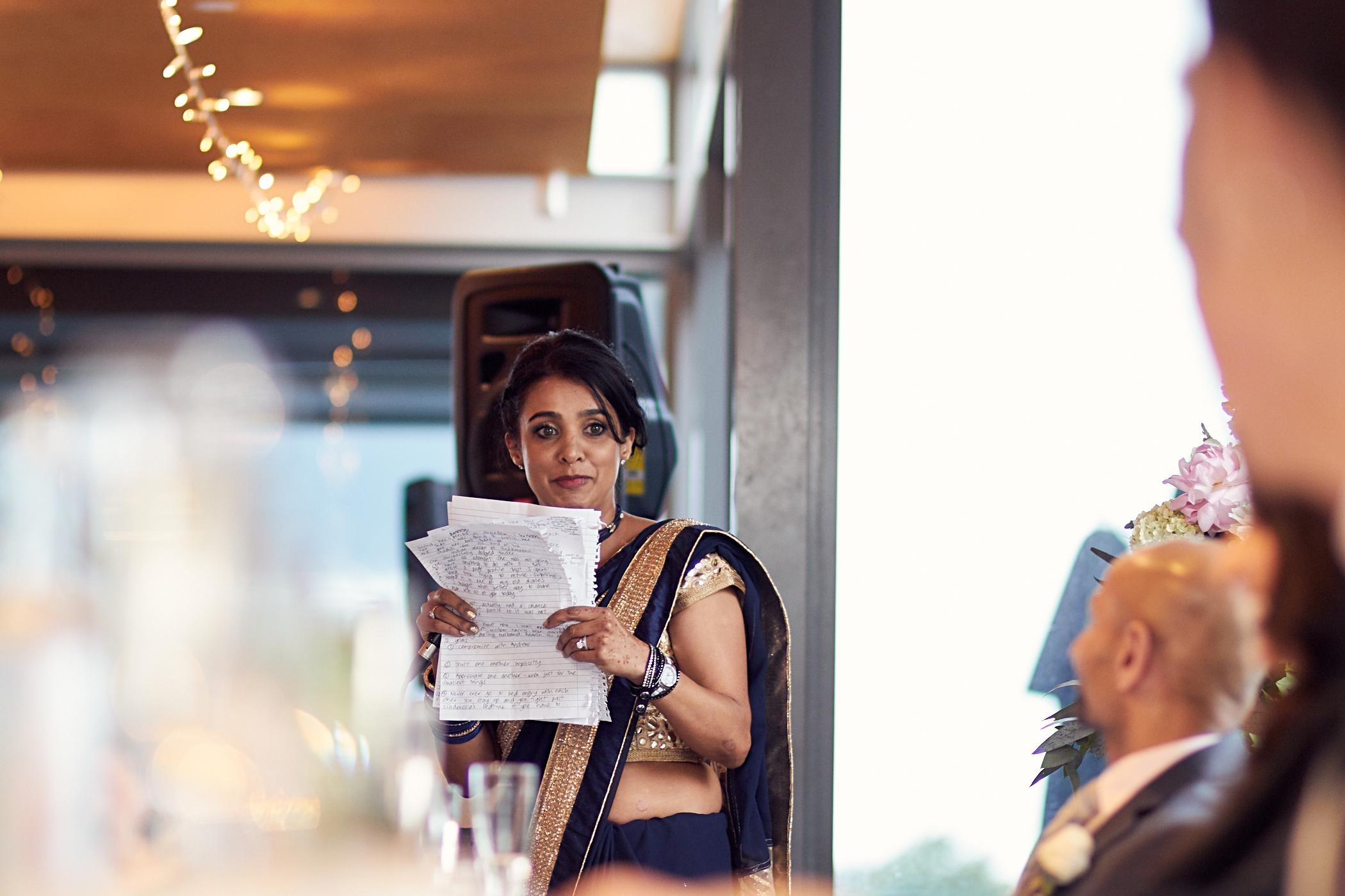 bridesmaid gives a speech