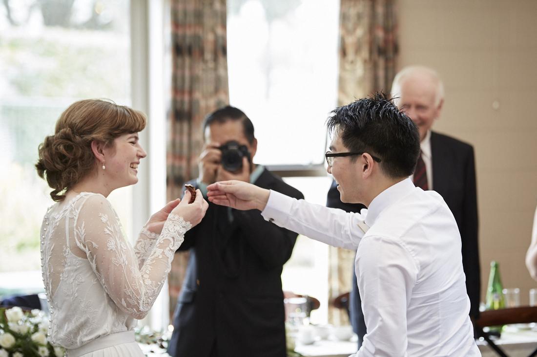 bride eats cake