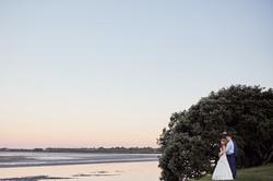 evening wedding shot