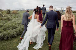 Candid wedding shot of bridal party