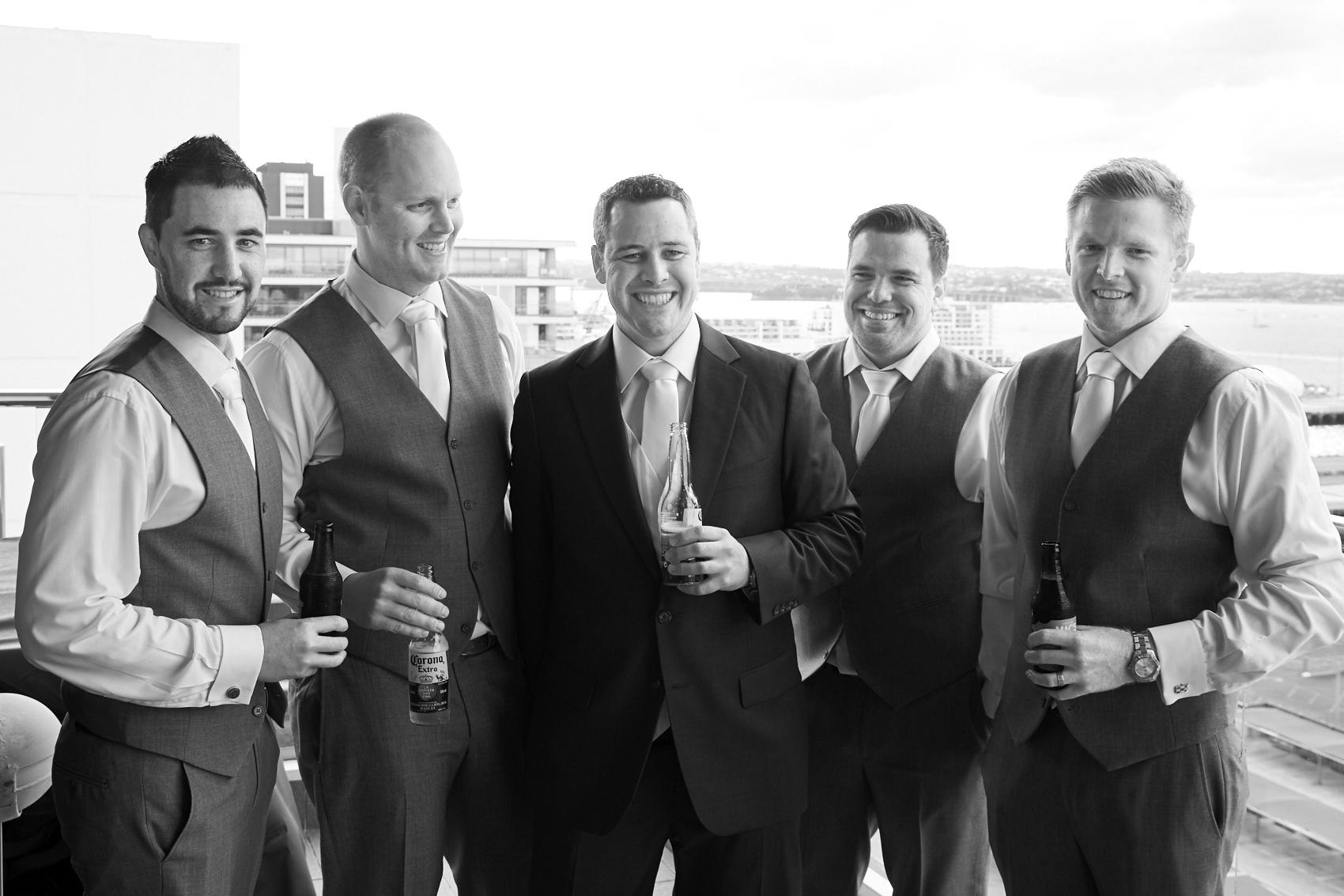 The men smiling